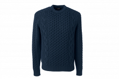 Land's End Cashmere Aran Crew Sweater (Navy)
