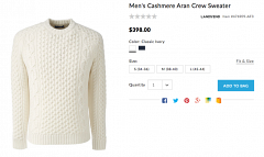Land's End Cashmere Aran Crew Sweater (Page)