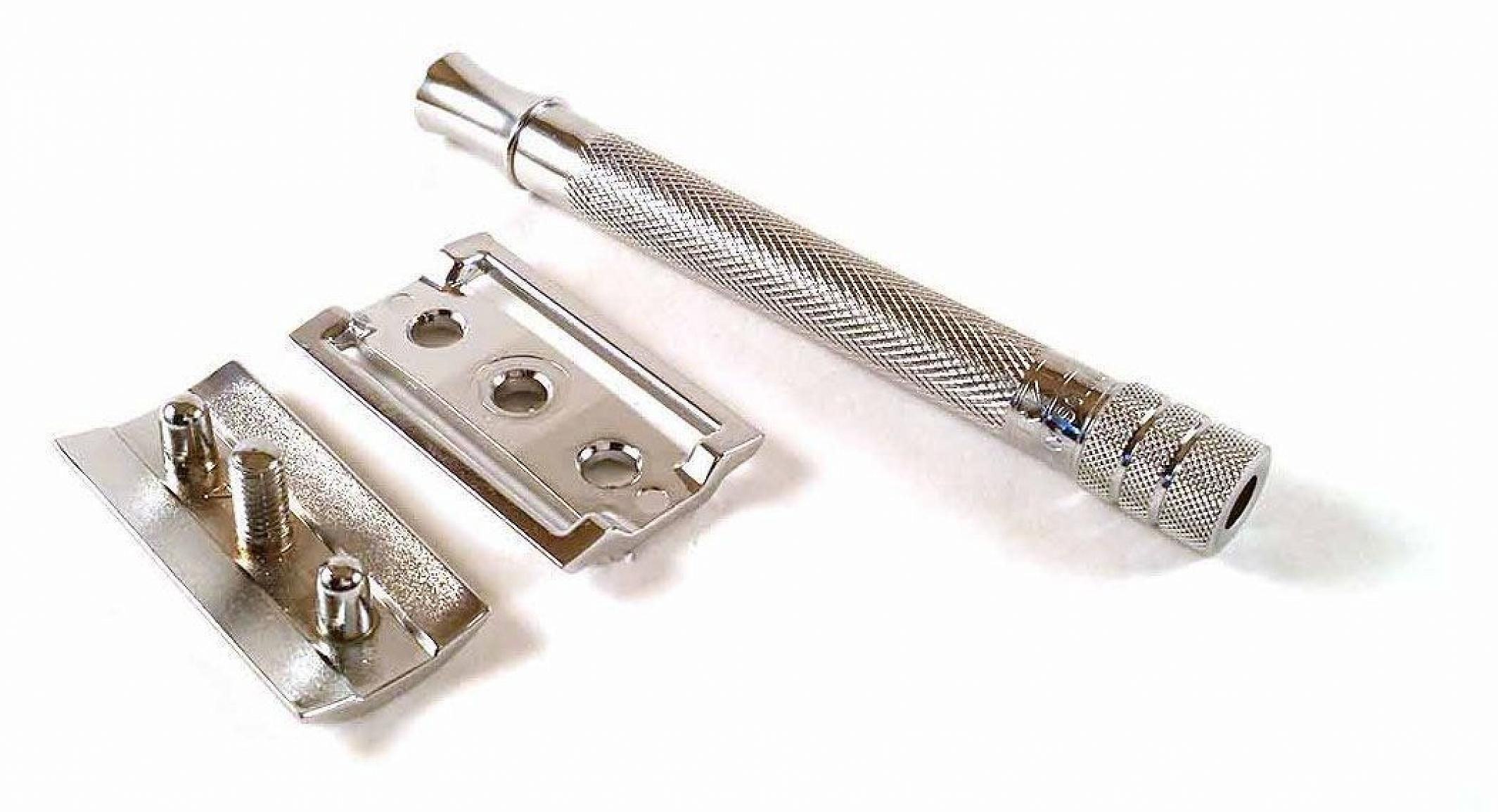 A typical three-piece DE razor